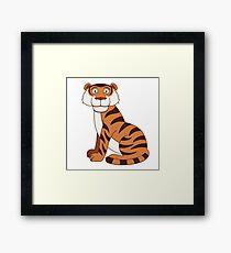Cute funny cartoon tiger Framed Print