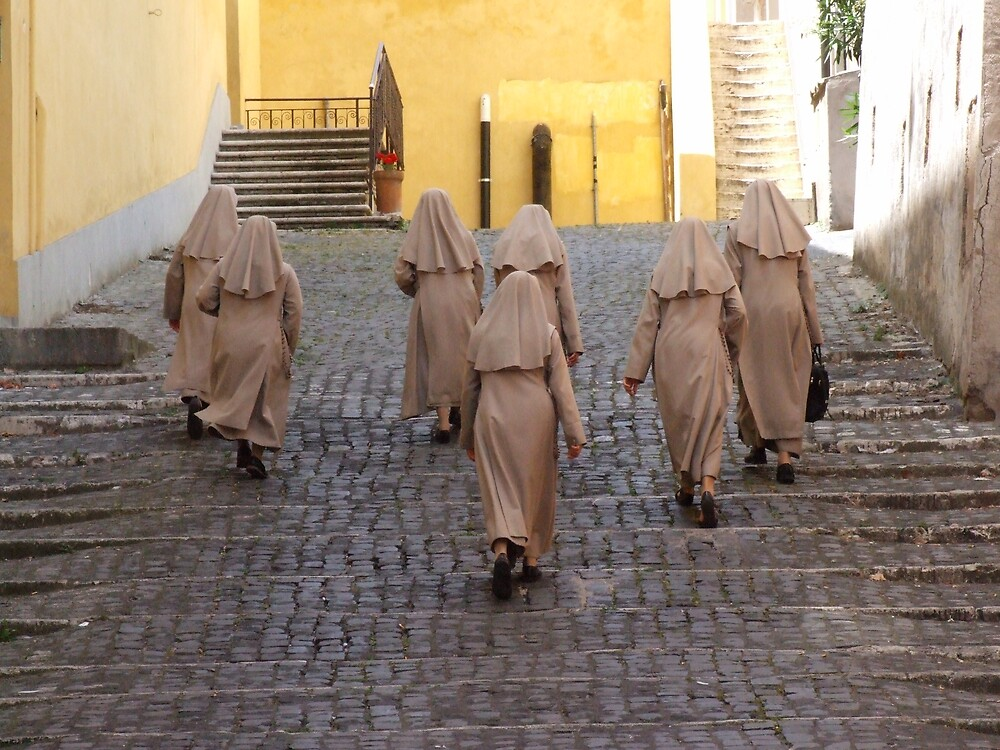ROMA nuns in a small lane by hjkphotohub