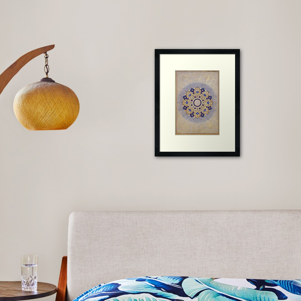 Colorful Gold and Blue Indian Shamsa Framed Art Print