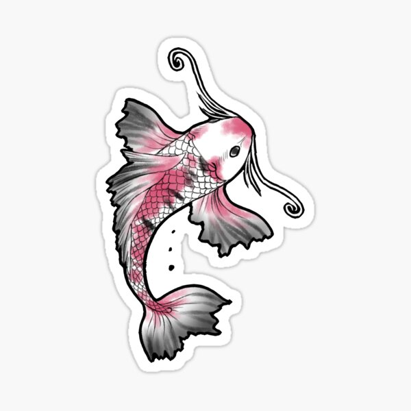 Pink Koi Fish Sticker