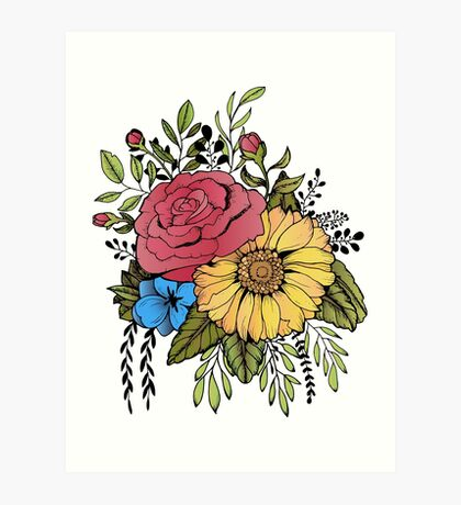 SUNFLOWER & ROSE Art Print