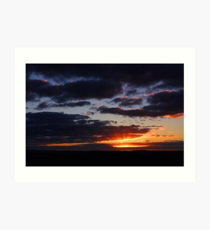 Crepuscular Rays At Sunrise  Art Print