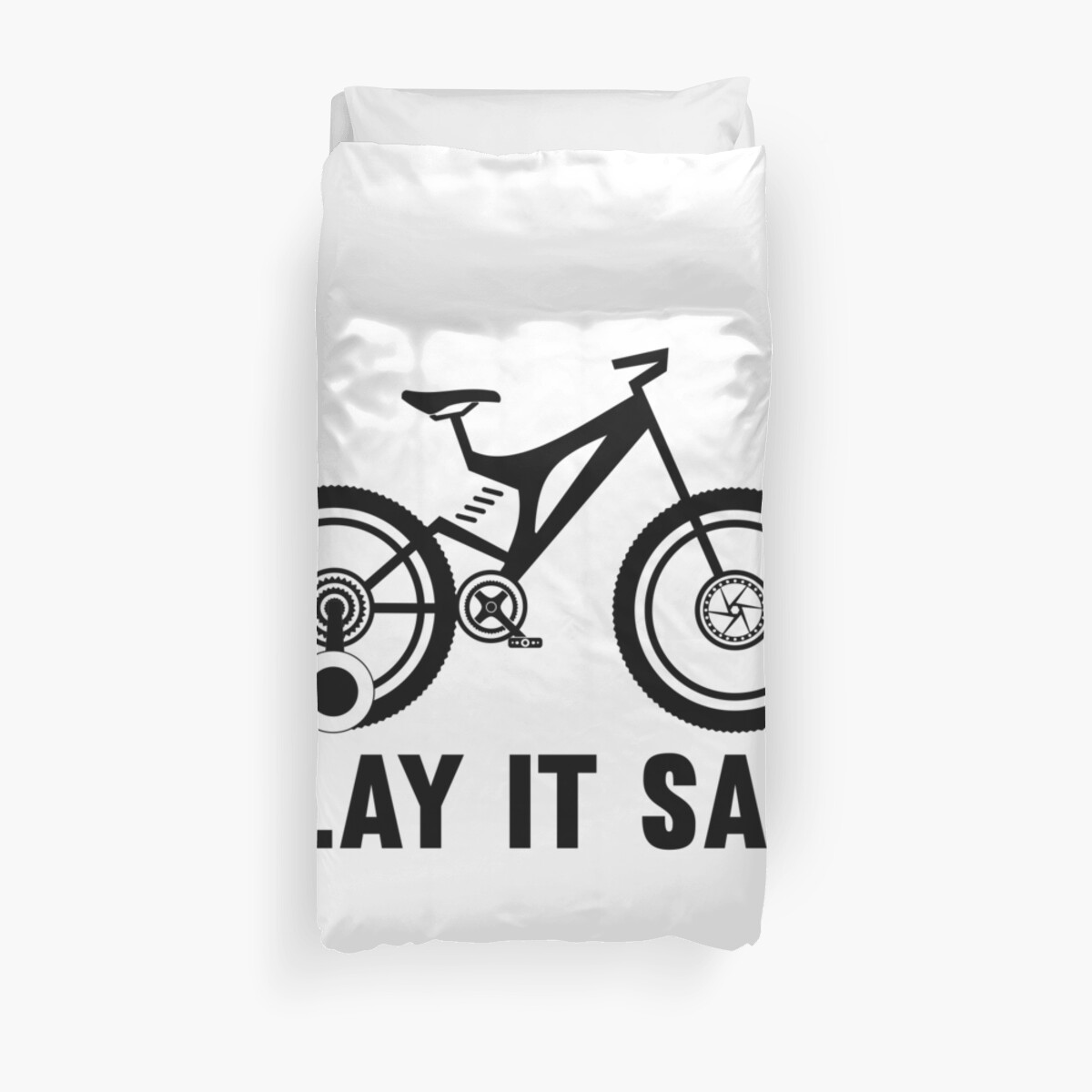 Play it safe funny player kids bike logo text design for friend brother sister an family duvet cover by sago design redbubble