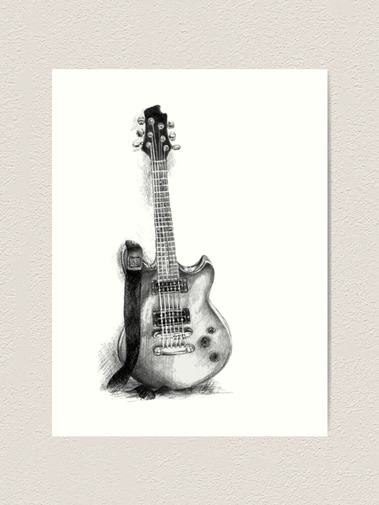 Guitar Drawing Art Print By Kadiliis Redbubble