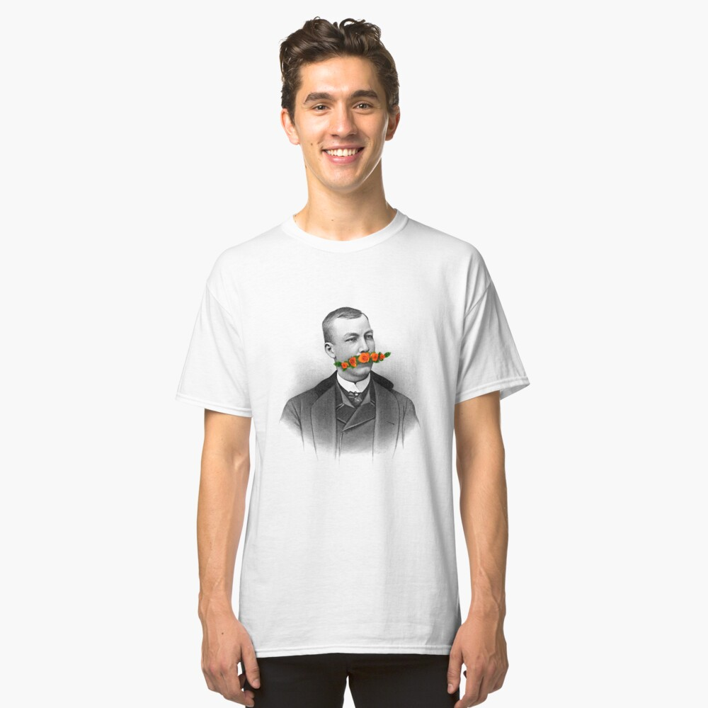 Vintage gentleman & Mustache with flowers Classic T-Shirt