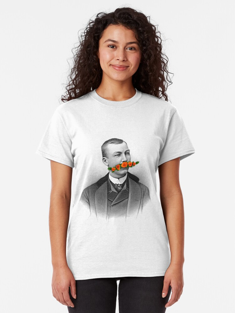 Alternate view of Vintage gentleman & Mustache with flowers Classic T-Shirt