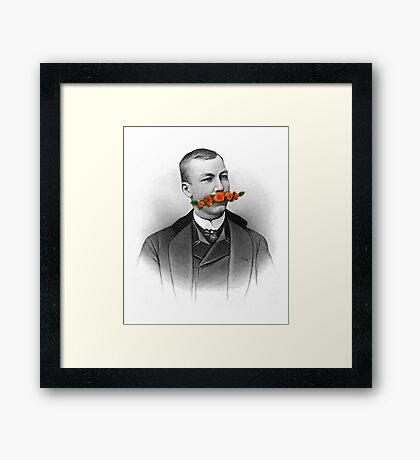 Vintage gentleman & Mustache with flowers Framed Print