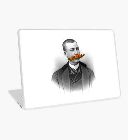 Vintage gentleman & Mustache with flowers Laptop Skin