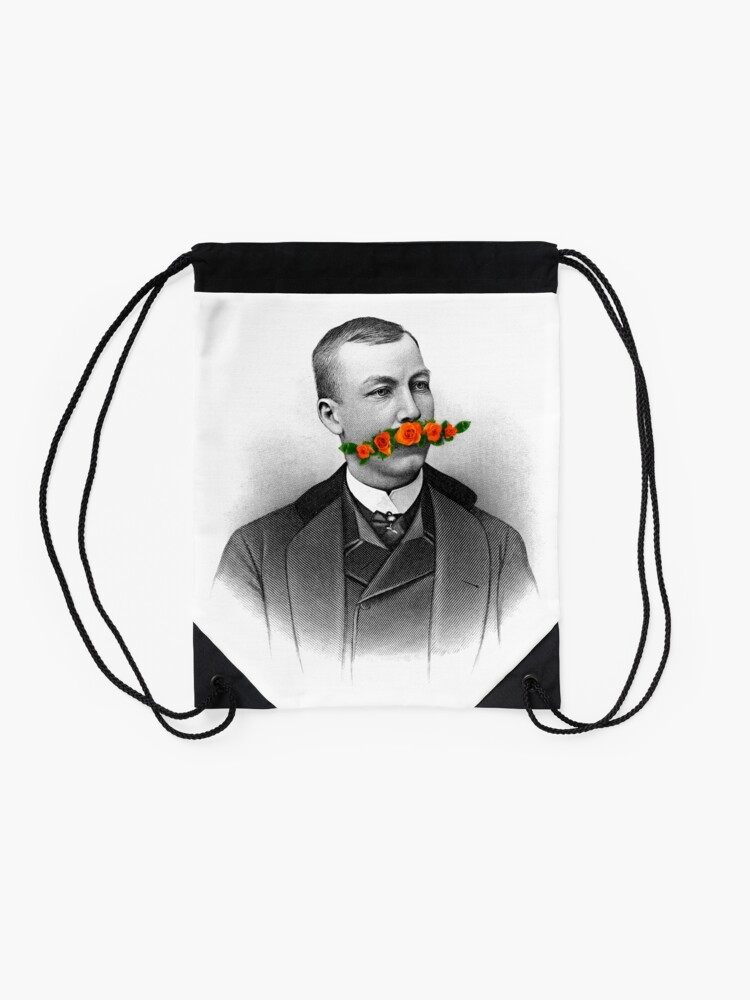 Alternate view of Vintage gentleman & Mustache with flowers Drawstring Bag