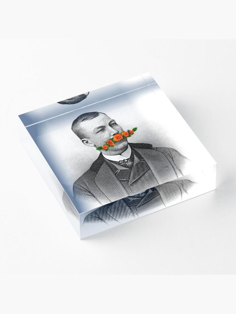 Alternate view of Vintage gentleman & Mustache with flowers Acrylic Block