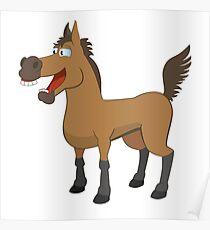 Funny cartoon horse Poster