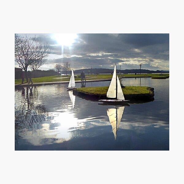 Aubery Boating Pond, Largs, North Ayrshire, Scotland Photographic Print