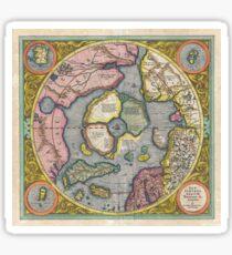 Antique Map - Mercator's North Pole (1606) Sticker