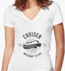 Cruiser - Waterway to Live Women's Fitted V-Neck T-Shirt