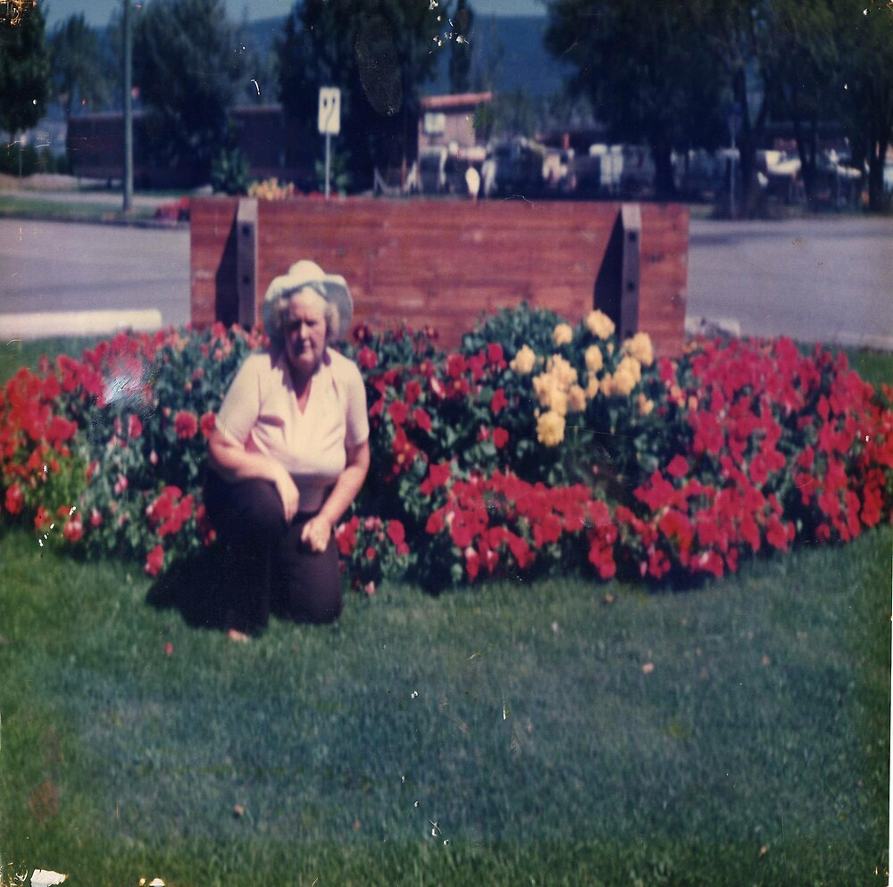 My Mother in front of a rose garden by oilersfan11