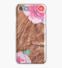 Wood and Peonies iPhone Case/Skin