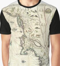 Antique Map - Blaeu's New England and New York (1635) Graphic T-Shirt