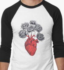 Heart with peonies Men's Baseball ¾ T-Shirt
