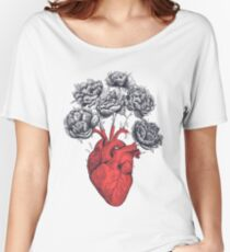 Heart with peonies Women's Relaxed Fit T-Shirt
