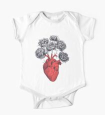 Heart with peonies One Piece - Short Sleeve