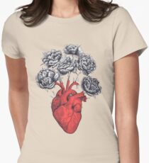 Heart with peonies Womens Fitted T-Shirt