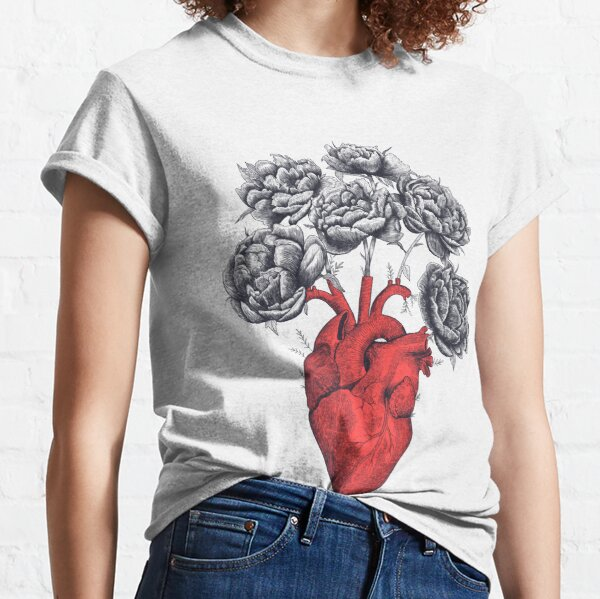 Heart with peonies T-shirt classique