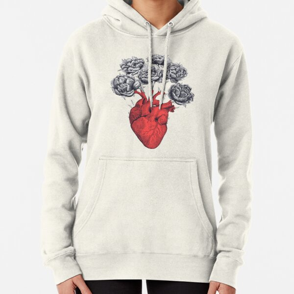 Heart with peonies Pullover Hoodie