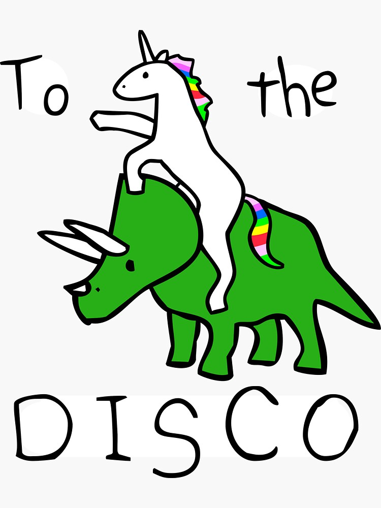To The Disco (Unicorn Riding Triceratops) by jezkemp