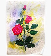 Watercolor Red Poppy Flowers Poster