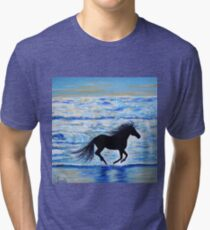 Running Free by the Sea 2 Tri-blend T-Shirt