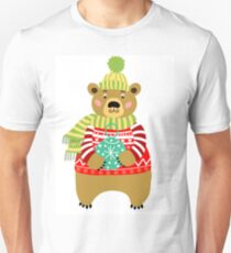 Bear in red knitted sweater.  T-Shirt