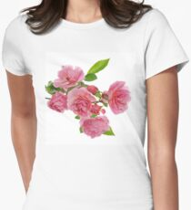 Branch of pink climbing rose Women's Fitted T-Shirt
