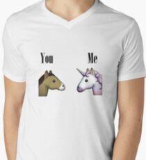 Unicorn emoji me vs you Men's V-Neck T-Shirt