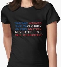 She Was Warned - Nevertheless She Persisted - Red White and Blue Women's Fitted T-Shirt