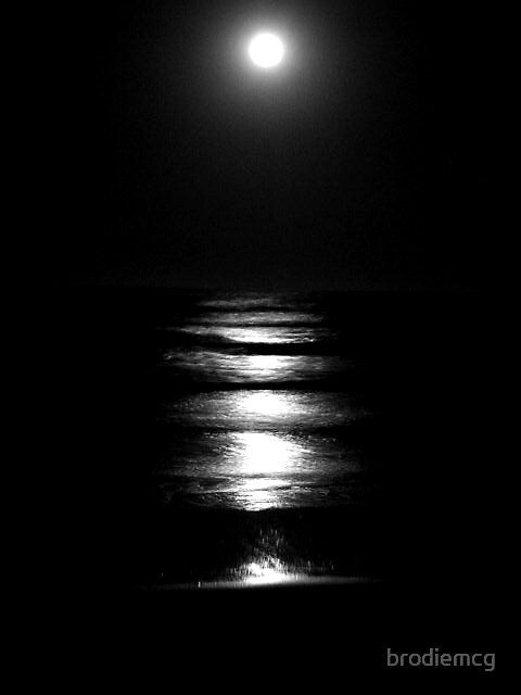full moon over the sea by brodiemcg