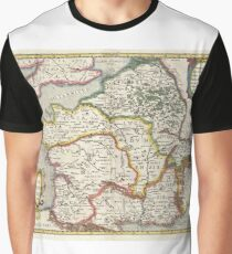 Antique Map - Jansson's France in Antiquity (1657) Graphic T-Shirt