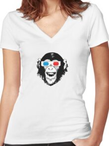 CoolChimp wearing 3D glasses Women's Fitted V-Neck T-Shirt
