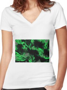 green palm leaves texture abstract background Women's Fitted V-Neck T-Shirt