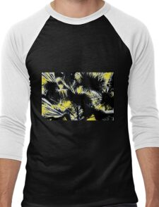 black and white palm leaves with yellow background Men's Baseball ¾ T-Shirt