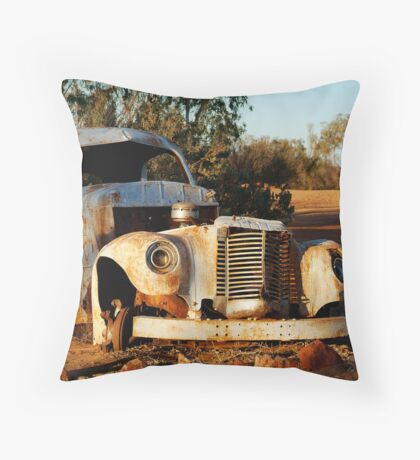 Truck Skeleton, Mt Dare Station Outback S.A. Throw Pillow