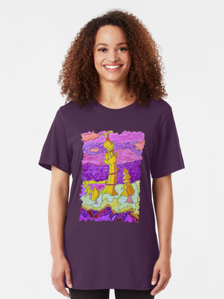 Alternate view of OCEAN ART COLORFUL LIGHTHOUSE LANDSCAPE Slim Fit T-Shirt