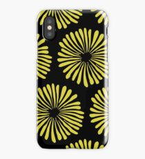 Yellow daisies on black background pattern iPhone Case