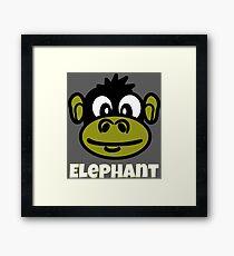 Cute Monkey Face Cartoon With Funny Elephant Text Framed Print