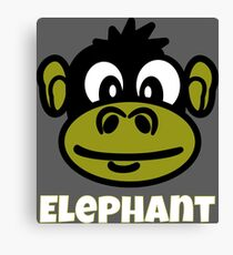 Cute Monkey Face Cartoon With Funny Elephant Text Canvas Print