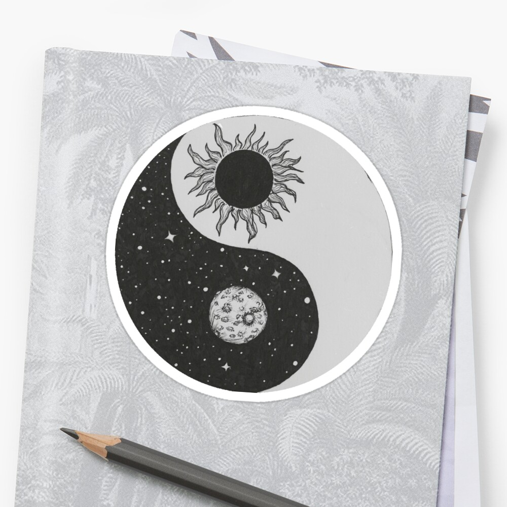 Sun Moon Yin Yang Stickers By Rachel Bernstein Redbubble