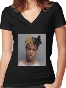 Free X - XXXTENTACION Women's Fitted V-Neck T-Shirt