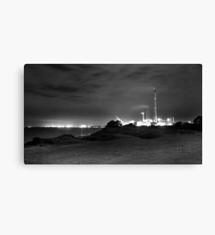 Kwinana Power Station At Night (B&W)  Canvas Print