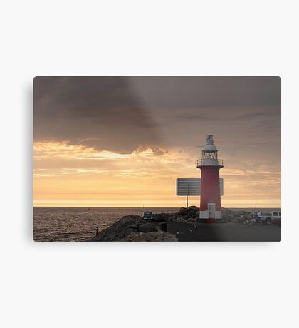 Stormy Sunset  At North Mole Lighthouse  Metal Print