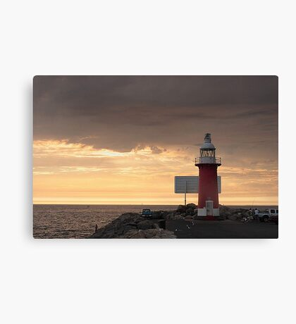 Stormy Sunset  At North Mole Lighthouse  Canvas Print
