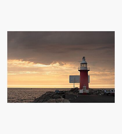 Stormy Sunset  At North Mole Lighthouse  Photographic Print